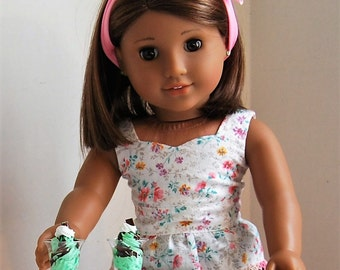 Food For American Girl Dolls. Chocolate Mint Sundae With Sprinkles