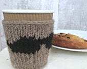 Moustache Cup Cozy, Hipster Gift, Knit Coffee Sleeve, Knitted Cup Cosy, Funny Gifts For Friends, Gifts Under 10, Ready to Ship