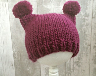 Baby Beanie Hat, Preemie Hat, Toddler Girl Hat with Ears, Baby Pom Pom Hat, Girl Newborn Gift Ideas, Baby Essentials, Baby Shower Ideas