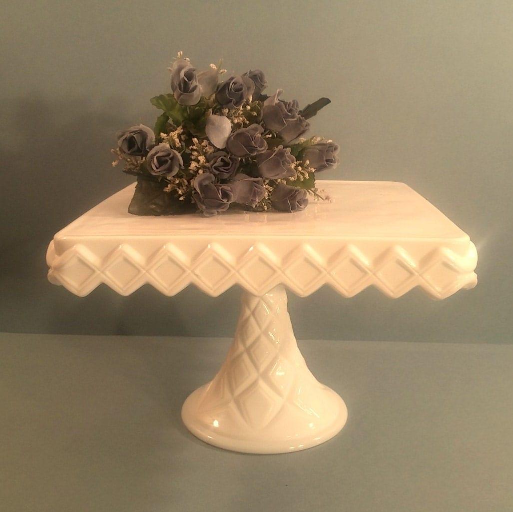 Vintage Milk Glass Cake Stand White Square Pedestal Cupcake