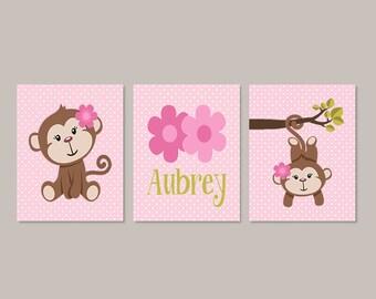 Girl MONKEY Nursery Decor, Monkey Bathroom, Girl Wall Art, Girl Nursery  Decor,
