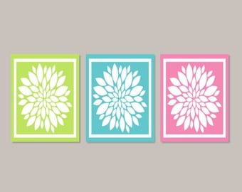 Teen Girl WALL ART, Teen Girl Room Decor, Lime Pink Teal, Bathroom Art, Bedroom Art, Flower Wall Art, Home Decor, Set of 3 Prints Or Canvas