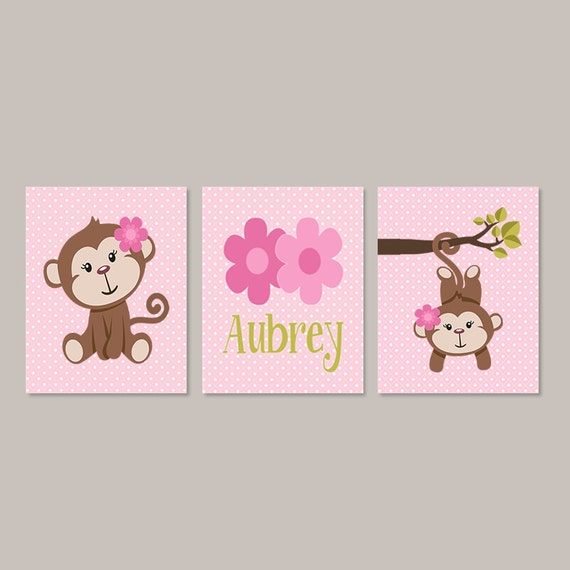 Girl MONKEY Nursery Decor Monkey Bathroom Girl Wall Art