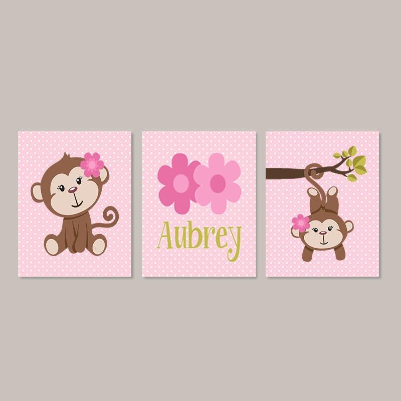 Girl Monkey Nursery Wall Decor : Girl monkey nursery decor bathroom wall art