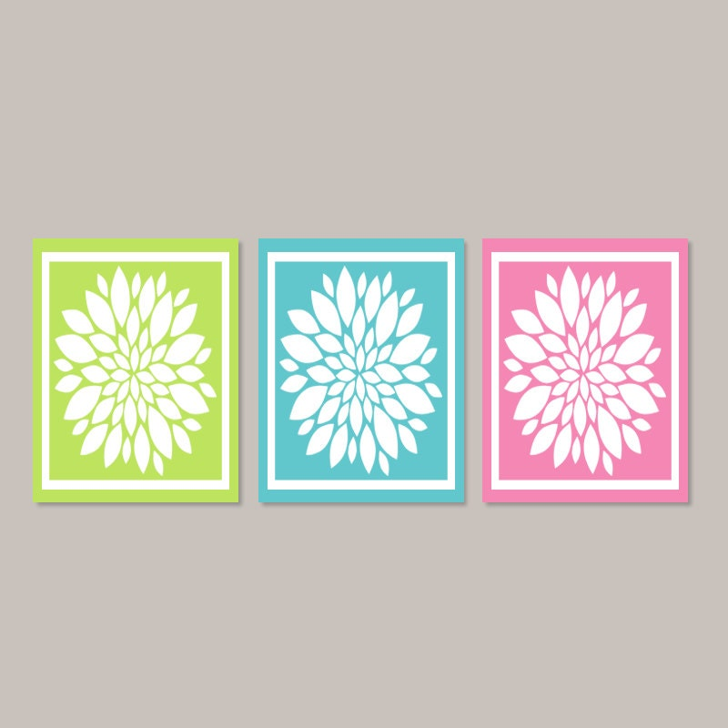 Teen girl wall art teen girl room decor lime pink teal for Teen wall decor