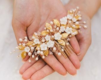 gold wedding comb, gold bridal comb, bridal headpiece, wedding hair comb, wedding headpiece, bridal head piece - JOSEPHINE