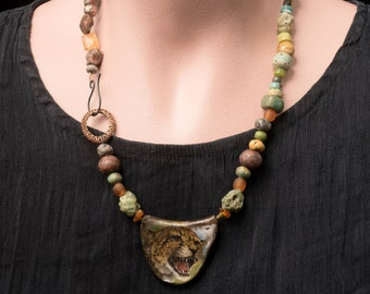 Every Mother's Love necklace, raw ceramic jewelry, handmade rustic assemblage necklace with artist beads, unique OOAK