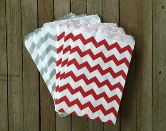 48 Red Silver Favor Bag--Chevron Favor Sack--Red and Silver Candy Favor Bag-- Goodie Bag--Party Sack--Birthday Treat Sacks