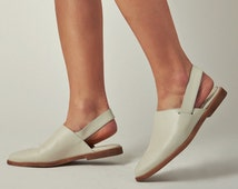 White leather flat shoes - women leather flats - leather slingback flat mules - off white leather spring clogs - Clearance!