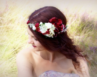 Red Flower Wedding Crown Woodland Red Roses Floral Crown Bridal headpieces Boho Wedding Bridal Wreath Red Rustic Wedding Crown