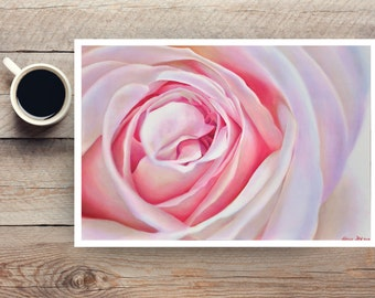 delicate rose oil painting - large giclee art print - macro photography - pink pastel colorful flower - summer - layered sentiments