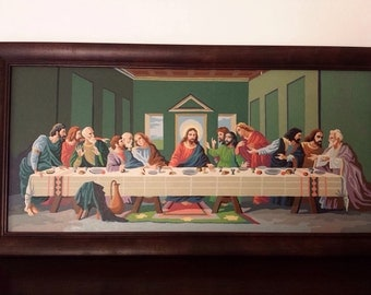 Vintage Paint By Number Last Supper Religious Painting Large