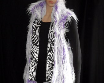 Faux fur lavender/white vest, fully lined, Mens size Large (Womens-XLarge), zebra print satin-ish lining