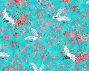 Asian Fabric, Bird Fabric, Haruyo Morita Fabric - Michiko Crane by Blank Quilting Fabrics B 7450 70 Blue - Priced by Half yard