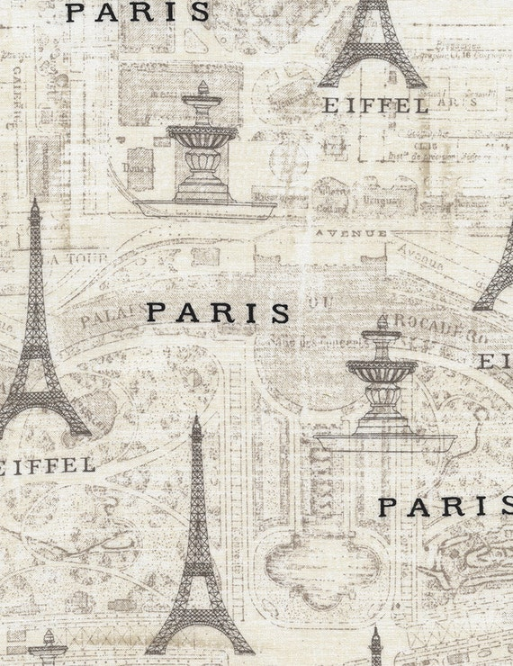 Paris Fabric Map Fabric Eiffel Tower Paris Map By Sue - Paris map fabric