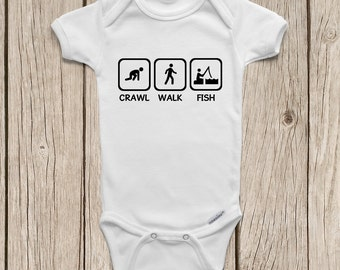 Crawl walk jam guitar onesies brand bodysuits baby bodysuit for Fishing shirt onesie