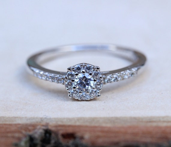 Natural White Sapphire Solitaire Engagement Ring Available