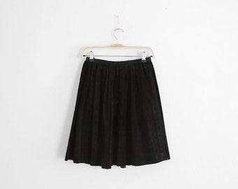 Vintage Black Pleated Suede leather Skirt