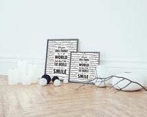 Let Your Smile Change the World But Don't Let The World Change Your Smile Art Print - Home Decor Print on Paper or Canvas