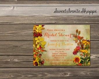 Autumn Fall Bridal Shower Invitation, Vintage Autumn Leaves And Flowers Bridal Shower Invitation, Printable Fall Wedding Shower, DIY File