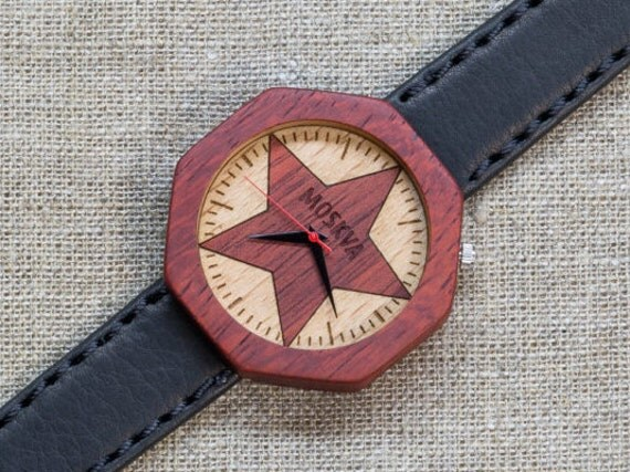 African Padauk minimal wood watch , Majestic Watch, Black Vintage Genuine Leather strap + Any Engraving / Gift Box. Anniversary  gift