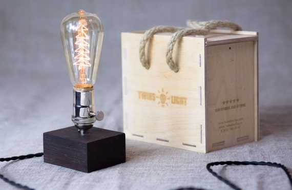 XMAS bulb Handmade Edison vintage  wood desk lamp , Polished Nickel socket with a built in rotary switch. Black venge wood Dimmer inside.