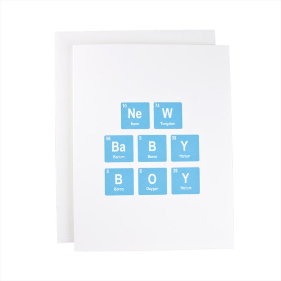 New Baby Boy greeting card, periodic table, baby, geeky, congratulations, blue, baby boy