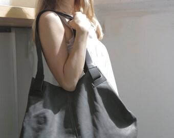 Matte Ash Grey Leather Tote Bag- Soft Leather Bag - Big Gray Nubuck  Leather Bag - Shoulder Bag - Over Size Bag - Carolina Bag