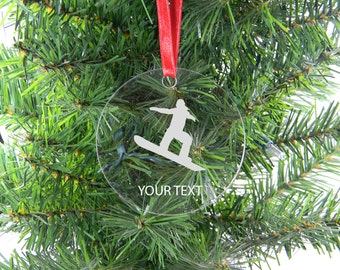 Personalized Custom snowboarder, snowboarding Clear Acrylic Christmas Tree Ornament