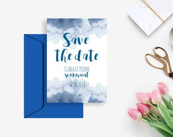 Printable Wedding Save the Date  - Indigo - Blue - Boho - Watercolor- DIY wedding - Boho wedding - Printable Save the date - Save the date