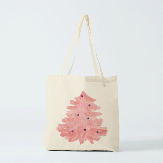 Christmas Tote Bag, Pastel Pink christmas tree, shopper bag, groceries bag, cotton bag, gift woman, gift coworker, novelty gift, canvas bag.