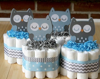 SET OF 4 Blue and Gray Owl Mini Diaper Cakes, Boy Owl Baby Shower, Baby Blue Gray Chevron , Grey Owl Centerpiece, Decor, Light Blue Owl Cake