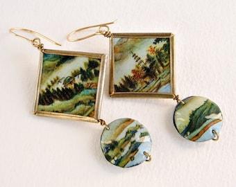 Chinese Earrings, Asian Earrings, Recycled tin Earrings, Landscape Earrings, Square earrings, Brass earrings, Gilt earrings