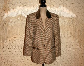 Vintage Womens Blazer Jacket Fall Clothing Brown Plaid Houndstooth Velvet Collar Oversized Long Suit Jacket Large Blazer Vintage Clothing