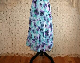 Romantic Skirt Turquoise Purple Floral Chiffon Skirt Boho Tiered Skirt Vintage Skirts Womens Skirts Boho Clothing Medium Womens Clothing