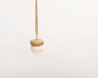 Glittery gold Acorn long pendant