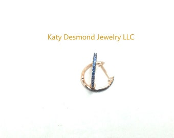 Sapphire Huggie earrings in 14K Yellow/Rose Gold  ,Good for first , second and third holes  # 505378,#505379,#505380