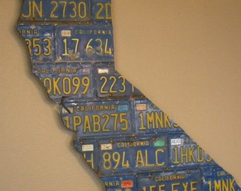OOAK Large California License Plate Map