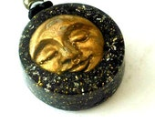 Orgonite pendant-Caritas of Happiness-Prosperity-Shungit-Ormus-black-gold-unique, handmade