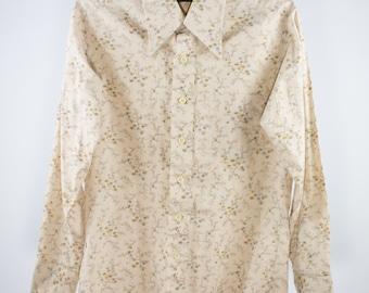 Vintage Shirt | 70s Floral Button-down | Medium