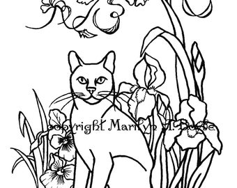 COLORING PAGE - CAT; flowers, garden, irises, pansies, for adult and older child,