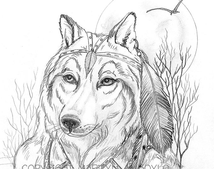 PRINT - DRAWING- FANTASY; wolf anthro, wall art, from a pencil drawing, character portrait.