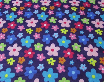 Flannel Fabric - Whimsy Flowers - 1 yard - 100% Cotton Flannel