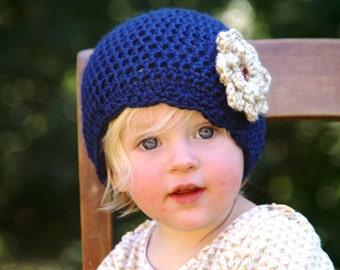 Vintage Style Baby Hat - handmade/baby/flower/kids/tan/cream/oatmeal/knit/stretchy/stylish/cozy/warm/winter/beanie