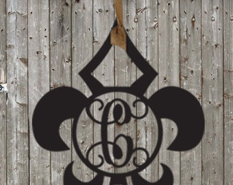 Wooden Fleur De Lis Initial