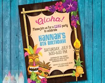 Luau Invitation. Luau Birthday Invitation. Luau Party. Hawaiian Invitation. Hawaiian Party Invitation. Tropical Party. Summer Birthday