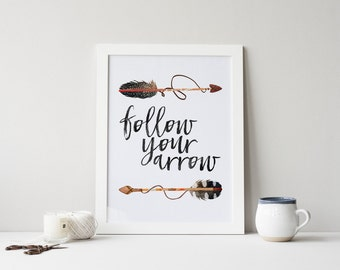 follow your arrow printable · tribal wall decor · watercolor feather print · arrow printable · western home nursery decor · nursery prints