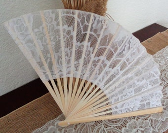 "9"" White,Ivory, Black  Lace Fabric  Bamboo hand Fan"