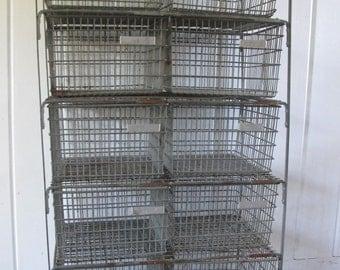 Tall Vintage Industrial 10 Wire Drawer Gym Locker Basket Cabinet with the Original Baskets