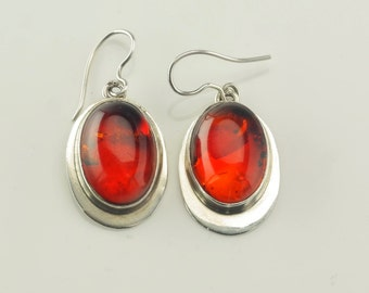 Sterling Silver Polish Amber Earrings